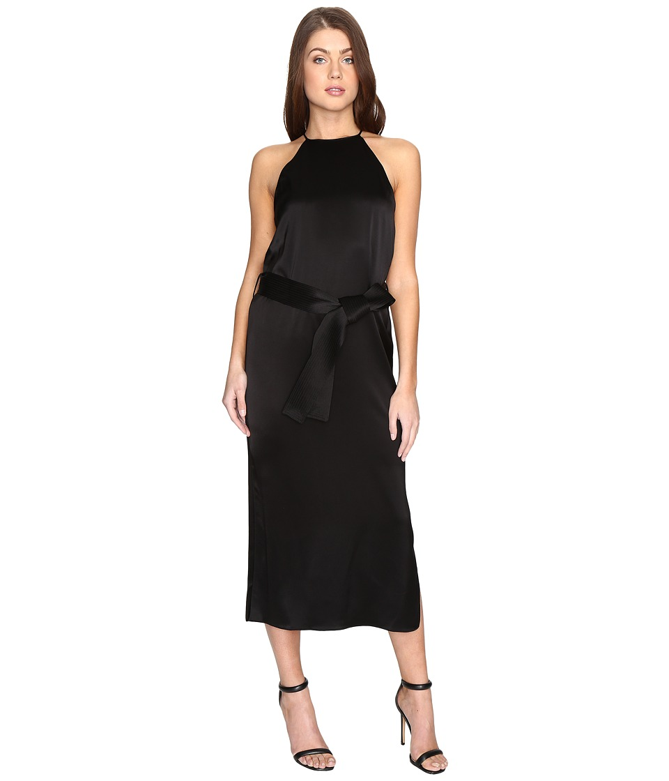 Halston Heritage Sleeveless Racerback Satin Slip Dress w/ Sash (Black) Women