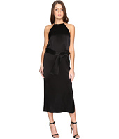 Halston Heritage - Sleeveless Racerback Satin Slip Dress w/ Sash