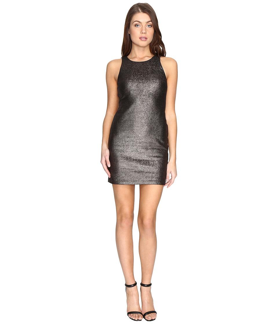 Halston Heritage Sleeveless Round Neck Fitted Metallic Dress (Metallic Graphite) Women