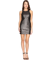 Halston Heritage - Sleeveless Round Neck Fitted Metallic Dress