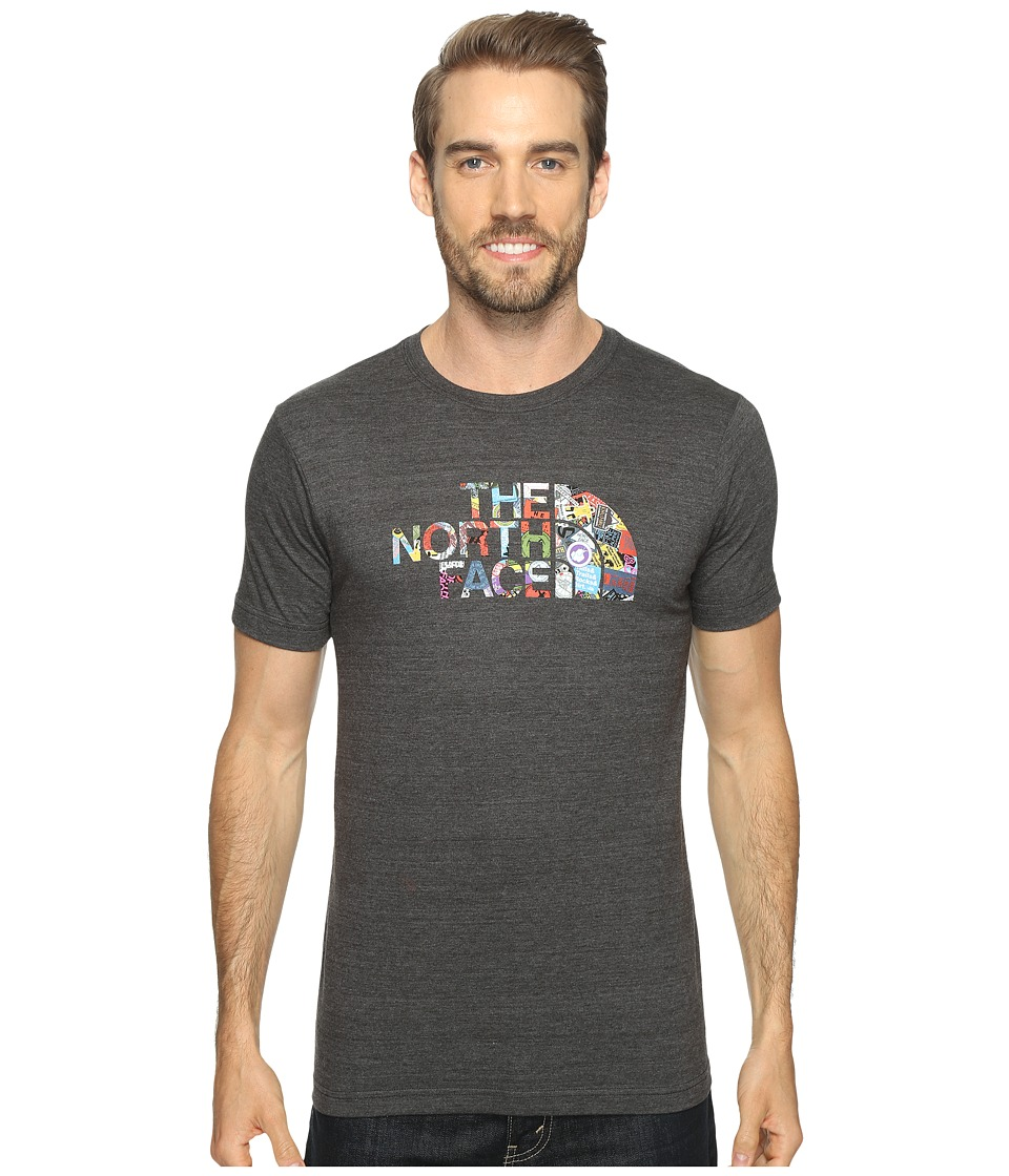 The North Face Short Sleeve Tri-Blend Tee (TNF Dark Grey Heather/TNF Black Sticker Bomb (Prior Season)) Men