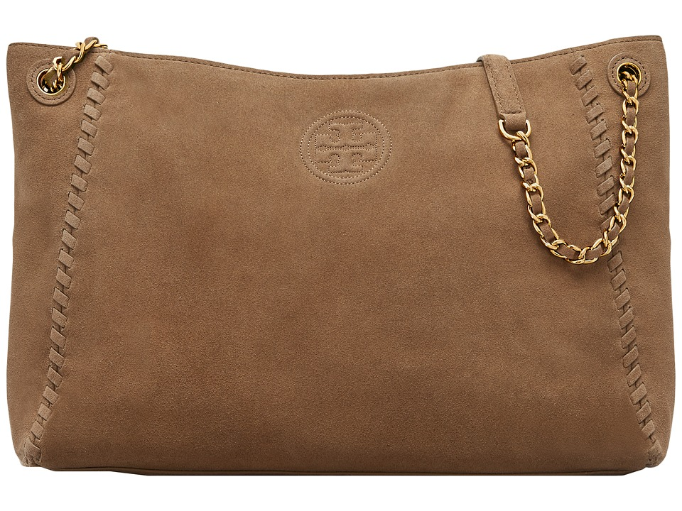 Tory Burch - Marion Suede Chain-Shoulder Slouchy Tote (River Rock) Tote Handbags