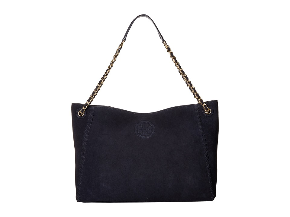 Tory Burch - Marion Suede Chain-Shoulder Slouchy Tote (Tory Navy) Tote Handbags