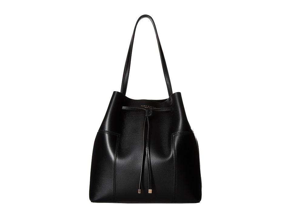 Tory Burch - Block-T Drawstring Tote (Black) Tote Handbags