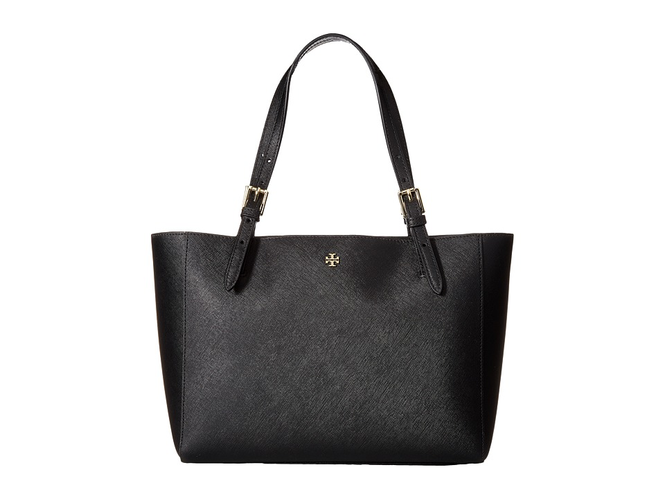 Tory Burch York Small Buckle Tote (Black) Tote Handbags