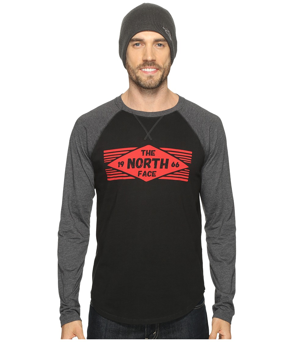 The North Face Long Sleeve 66 Diamonds Raglan Tee (TNF Black/TNF Dark Grey Heather) Men