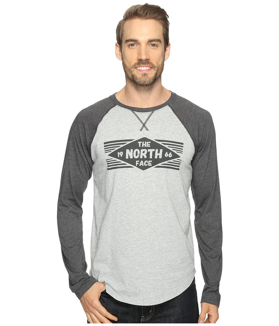 The North Face Long Sleeve 66 Diamonds Raglan Tee (TNF Light Grey Heather/TNF Dark Grey Heather) Men