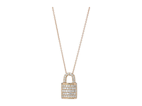 Roberto Coin Tiny Treasures Lock Pendant Necklace with Diamonds - Rose Gold