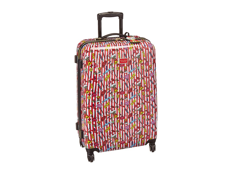 Betsey Johnson Candy Cane Large Roller Luggage (Red/White) Luggage