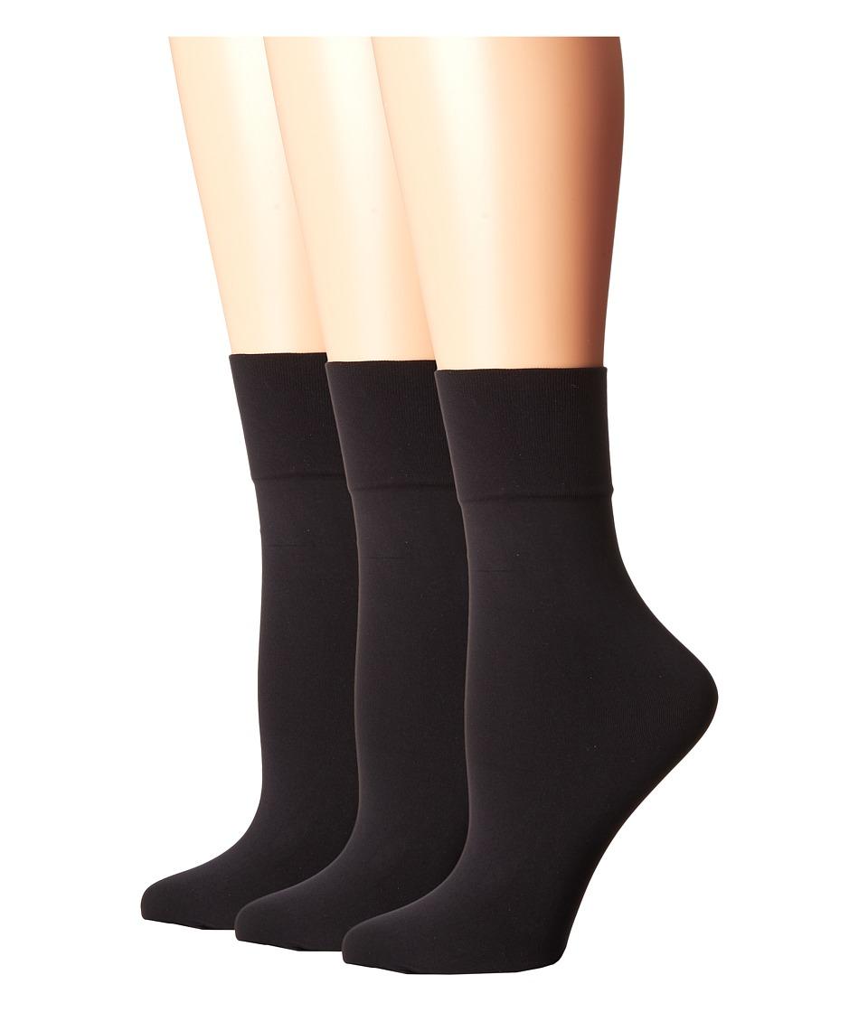HUE - Simply Skinny Socks 3-Pack (Black/Black/Black) Womens Crew Cut Socks Shoes