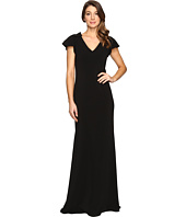Badgley Mischka - Ruffle Sleeve V-Neck Gown