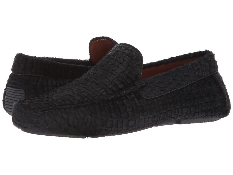 Aquatalia - Bryce (Black Embossed Haircalf) Mens Slip on  Shoes