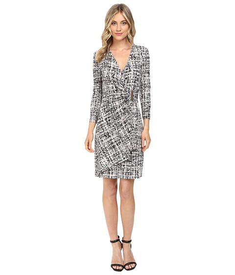 Calvin Klein 3/4 Sleeve Mock Wrap Dress CD6A5995