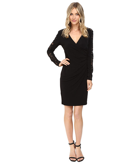 Calvin Klein Long Sleeve Wrap Dress with Lace Inserts CD6A1774