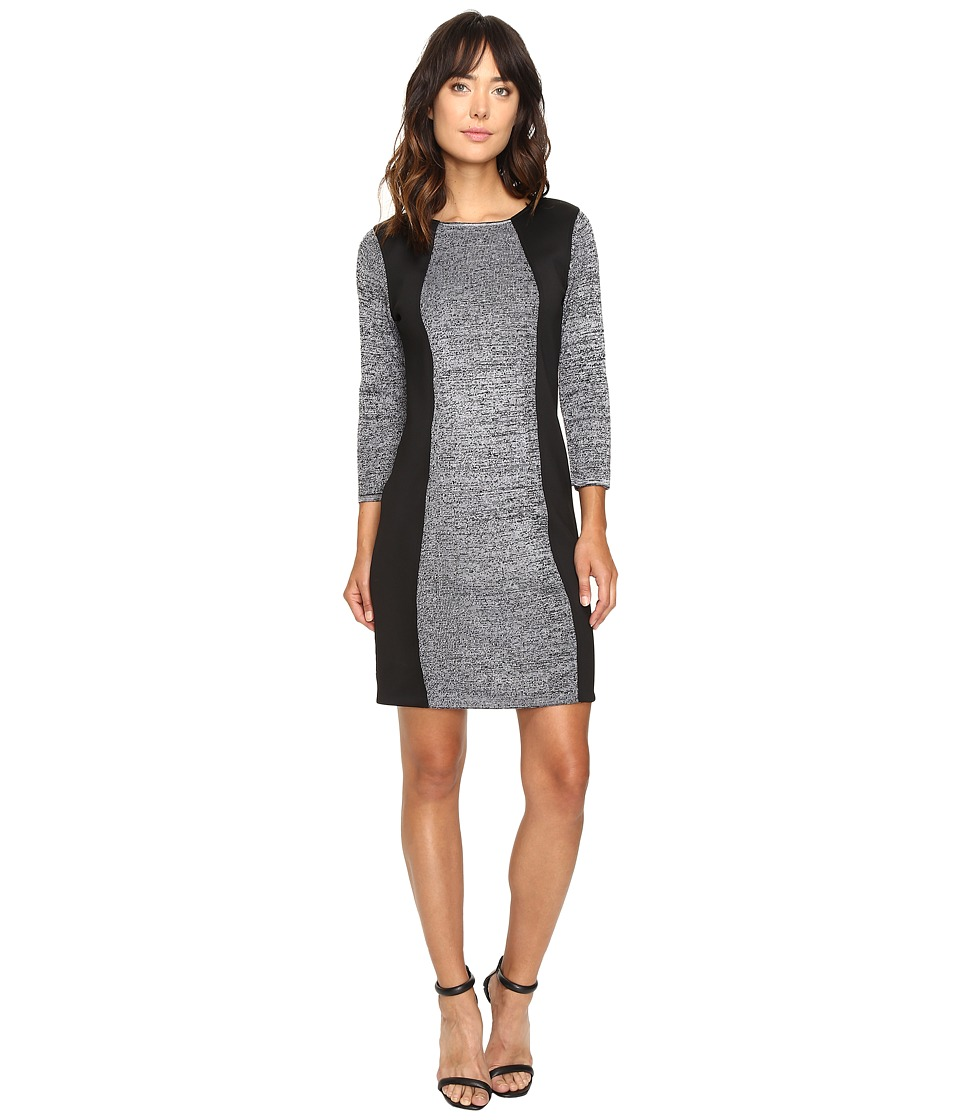 Calvin Klein - Sheather Sweater Dress with Scuba Insert CD6W2W9F (Black/Winter White) Women