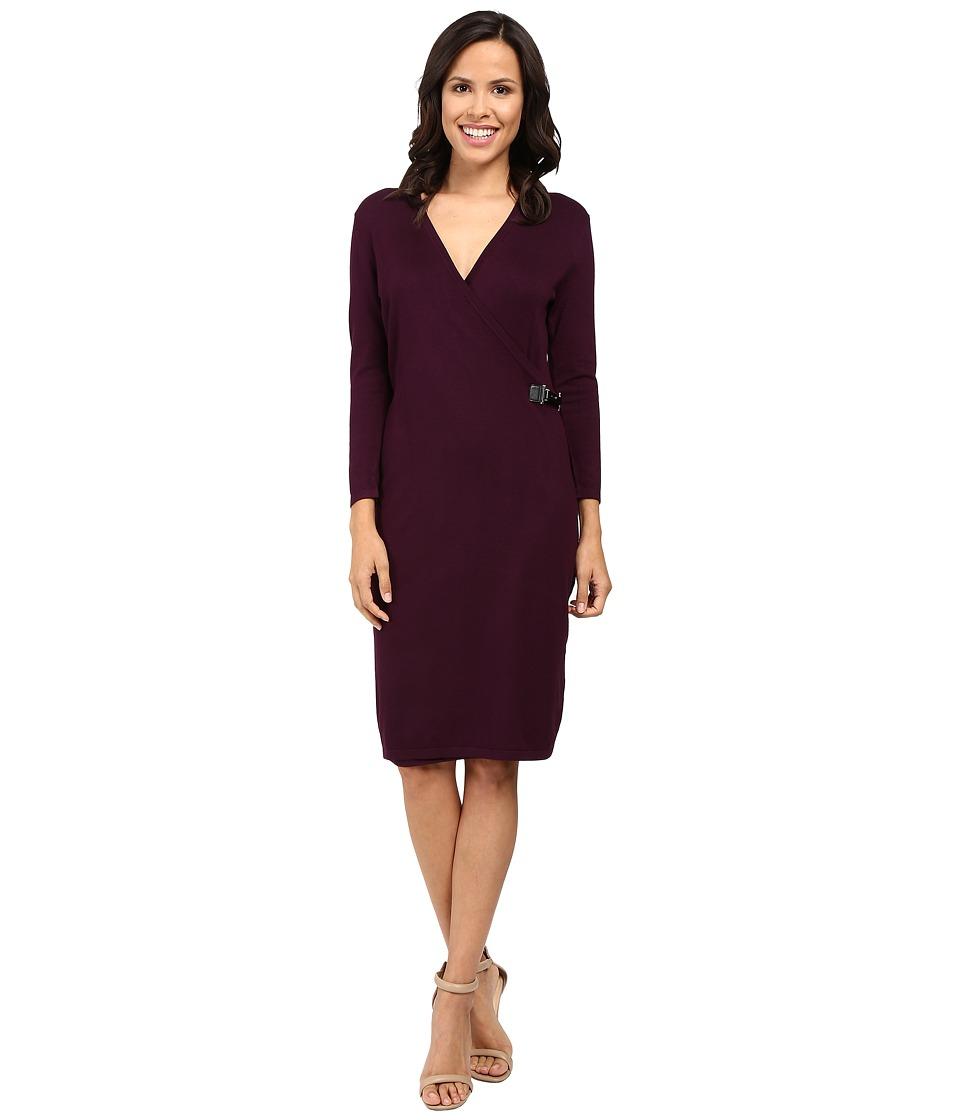Calvin Klein Long Sleeve Mock Wrap Sweater Dress CD6W1642 (Aubergine) Women