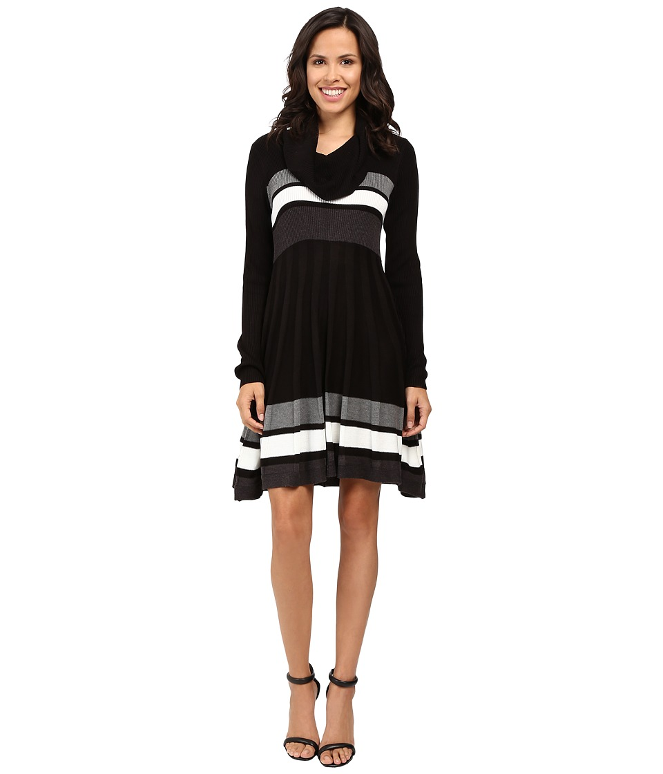 Calvin Klein - Color Block Fit and Flare Sweater Dress CD6W4PU5 (Black Multi) Women