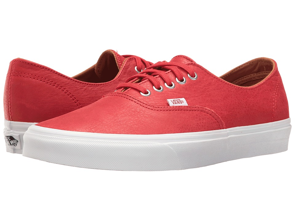 Vans Authentic Decon ((Premium Leather) Racing Red/True White) Skate Shoes