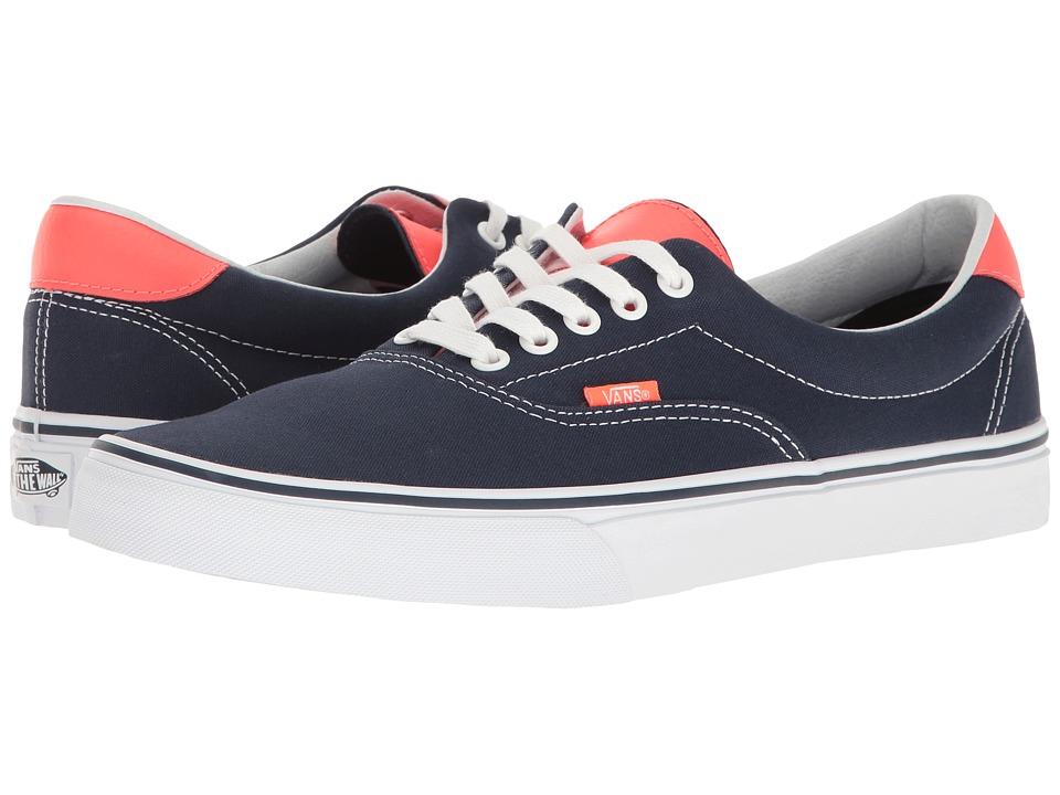 Vans - Era 59 ((Neon Leather) Dress Blues/Neon Red) Skate Shoes