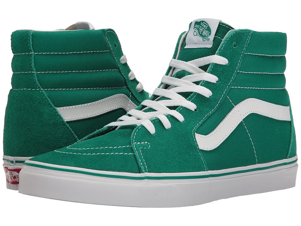 Vans - SK8-Hi ((Suede/Canvas) Ultramarine Green/True White) Skate Shoes
