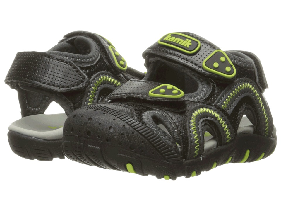 Kamik Kids Seaturtle (Toddler) (Black/Lime) Boys Shoes