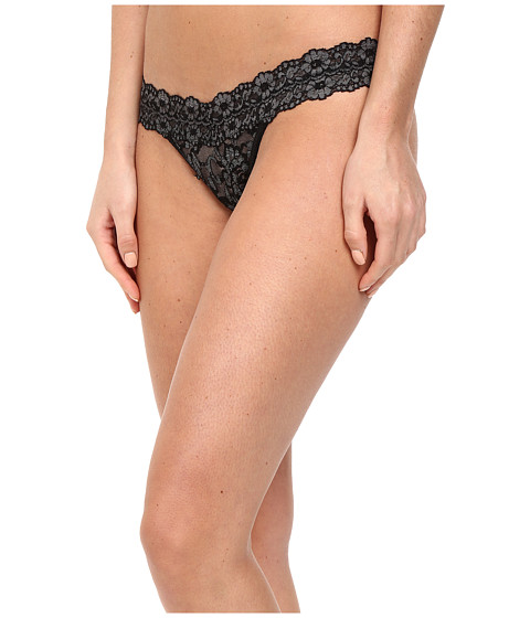 Hanky Panky Cross-Dyed Signature Lace Low Rise Thong - Black Heather