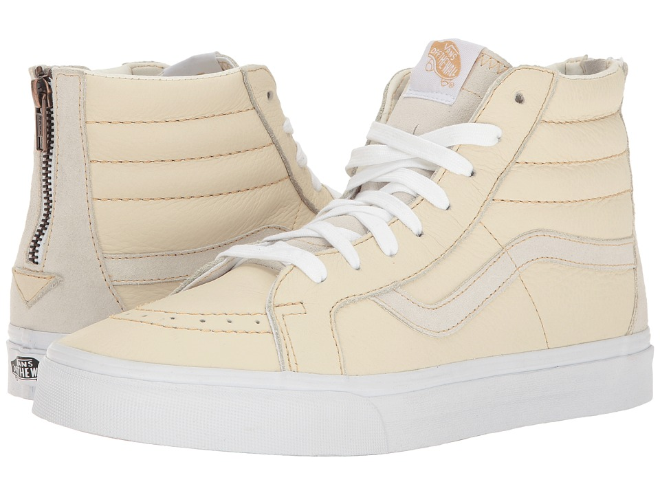 Vans SK8-Hi Reissue Zip ((Premium Leather) White/Sand) Lace up casual Shoes