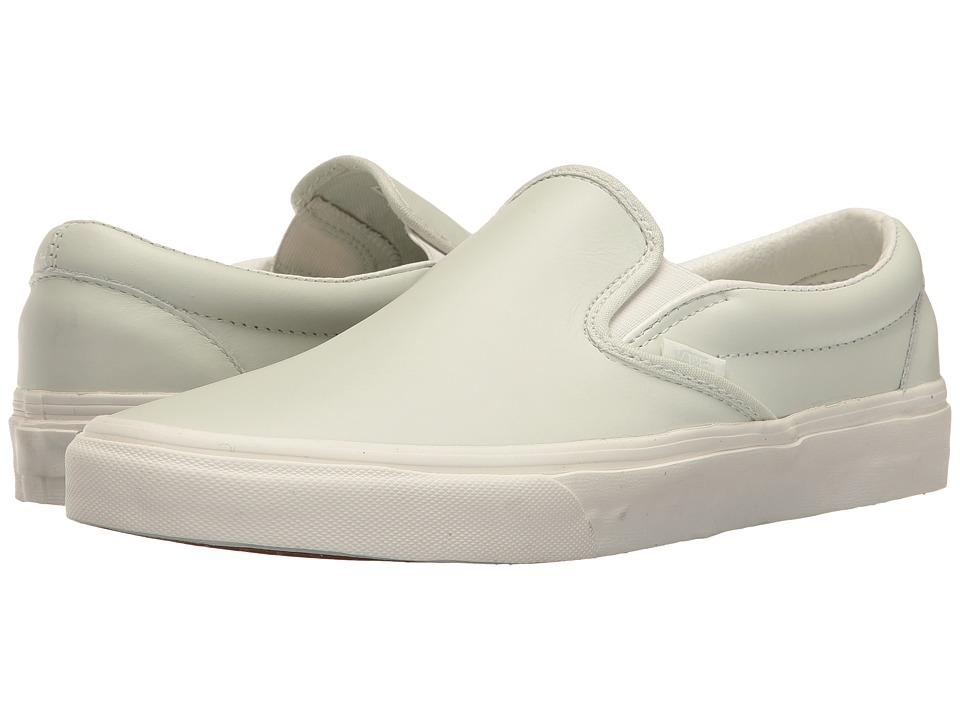 Vans Classic Slip-Ontm ((Leather) Zephyr Blue/Blanc De Blanc) Skate Shoes