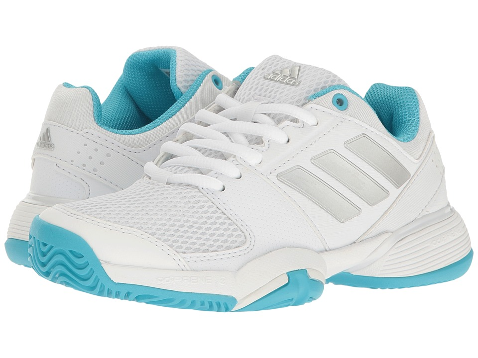 adidas Kids Barricade Club xJ (Little Kid/Big Kid) (White/Silver Metallic/Samba Blue) Girls Shoes