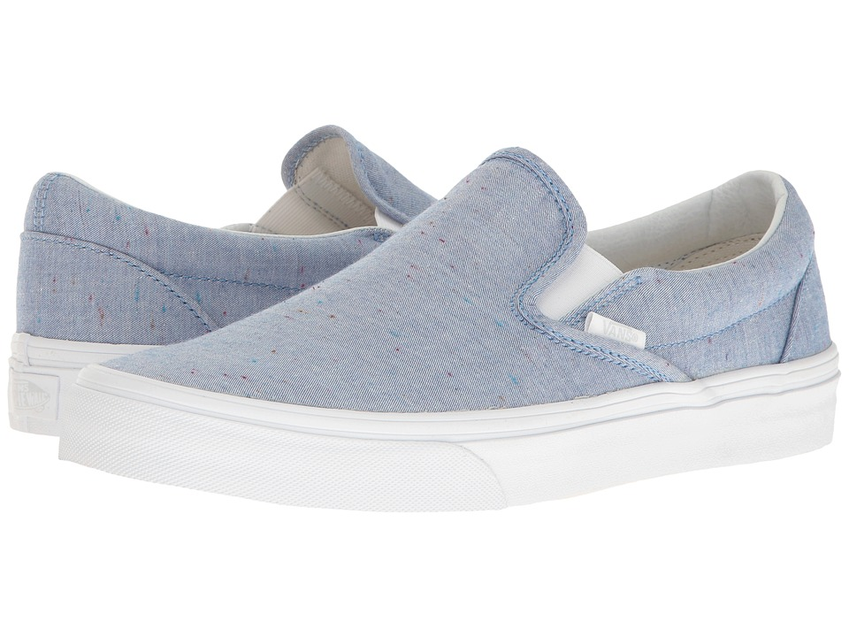 Vans Classic Slip-Ontm ((Speckle Jersey) Blue/True White) Skate Shoes