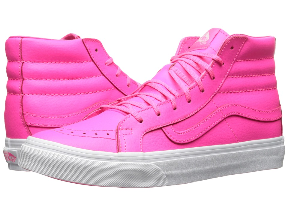 Vans - SK8-Hi Slim ((Neon Leather) Neon Pink/True White) Skate Shoes