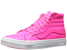 SK8-Hi Slim ((Neon Leather) Neon Pink/True White) Skate Shoes