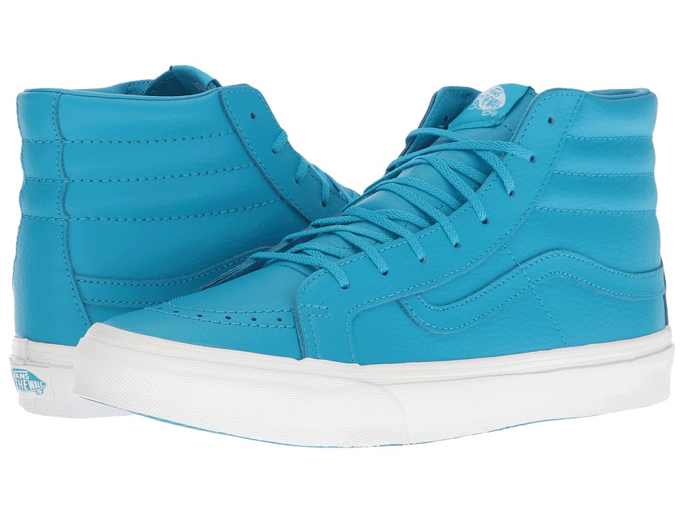 Vans SK8-Hi Slim ((Neon Leather) Neon Blue/True White) Skate Shoes