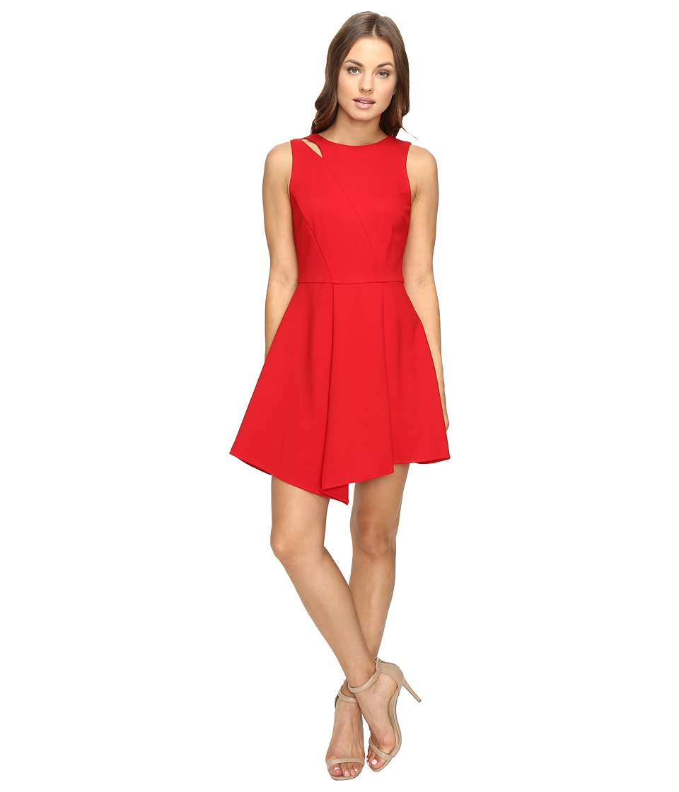 Image of Adelyn Rae - Fit and Flare Dress with Asymmetrical Hem (Red) Women's Dress
