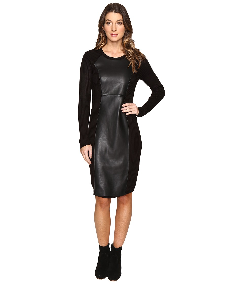 Calvin Klein Long Sleeve Sweater Will PU Front CD6W1378 (Black) Women