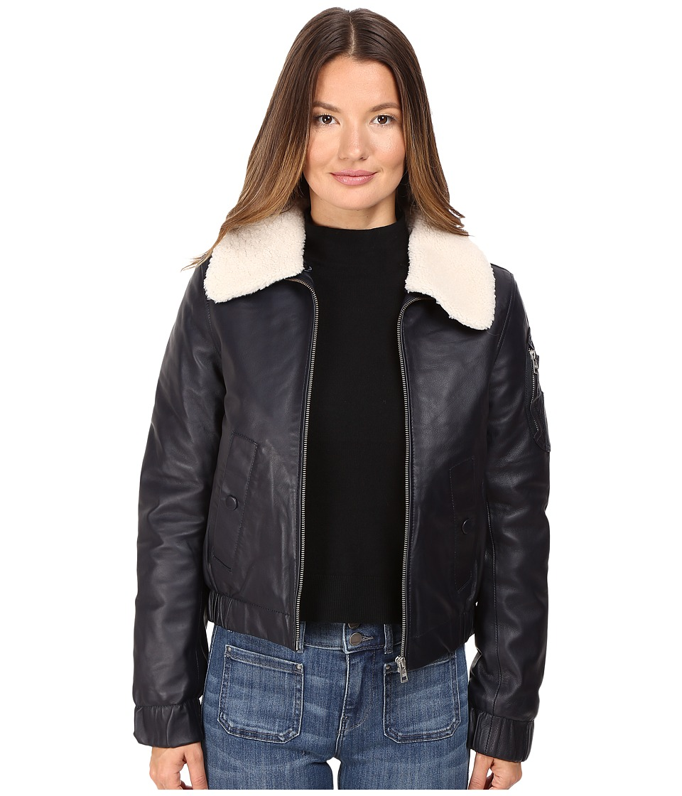 See by Chloe Leather Jacket with Shearling Collar (Navy) Women
