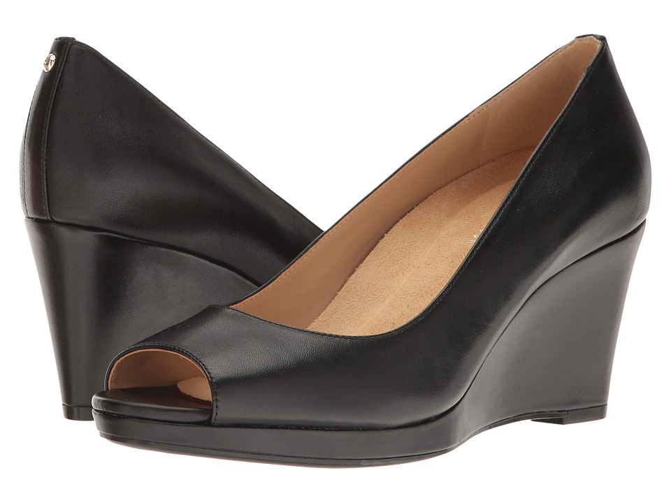Naturalizer - Olivia (Black Leather) Women's Wedge Shoes