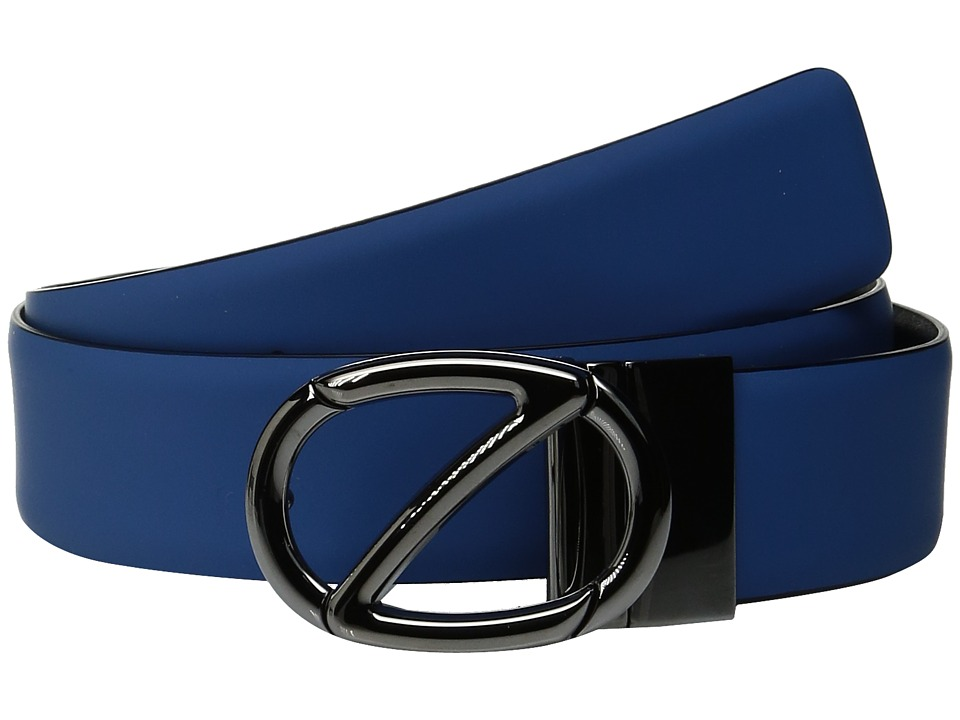 Zegna Reversible BGOMG1 H35mm Belt (Light Blue/Black) Men...