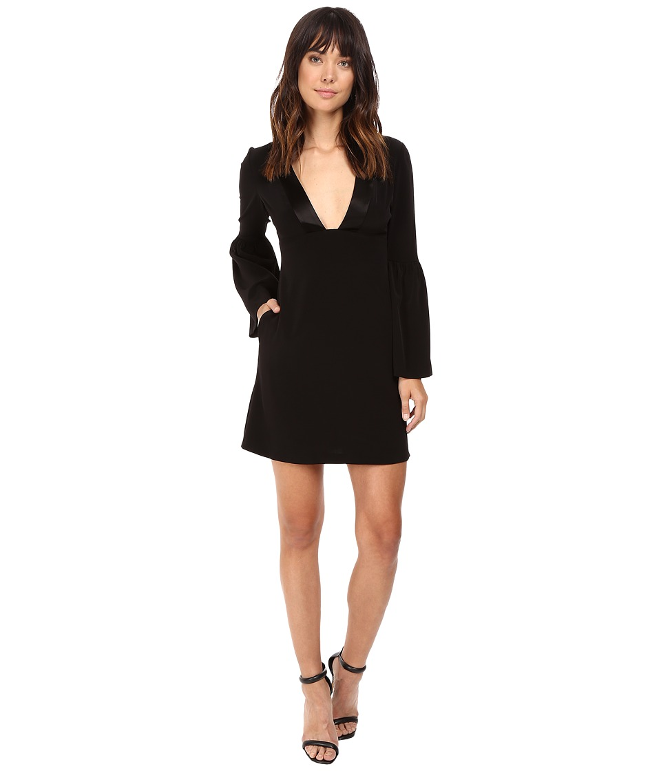 JILL JILL STUART - Short Satin Back Crepe Dress with Bell Long Sleeves and Deep V