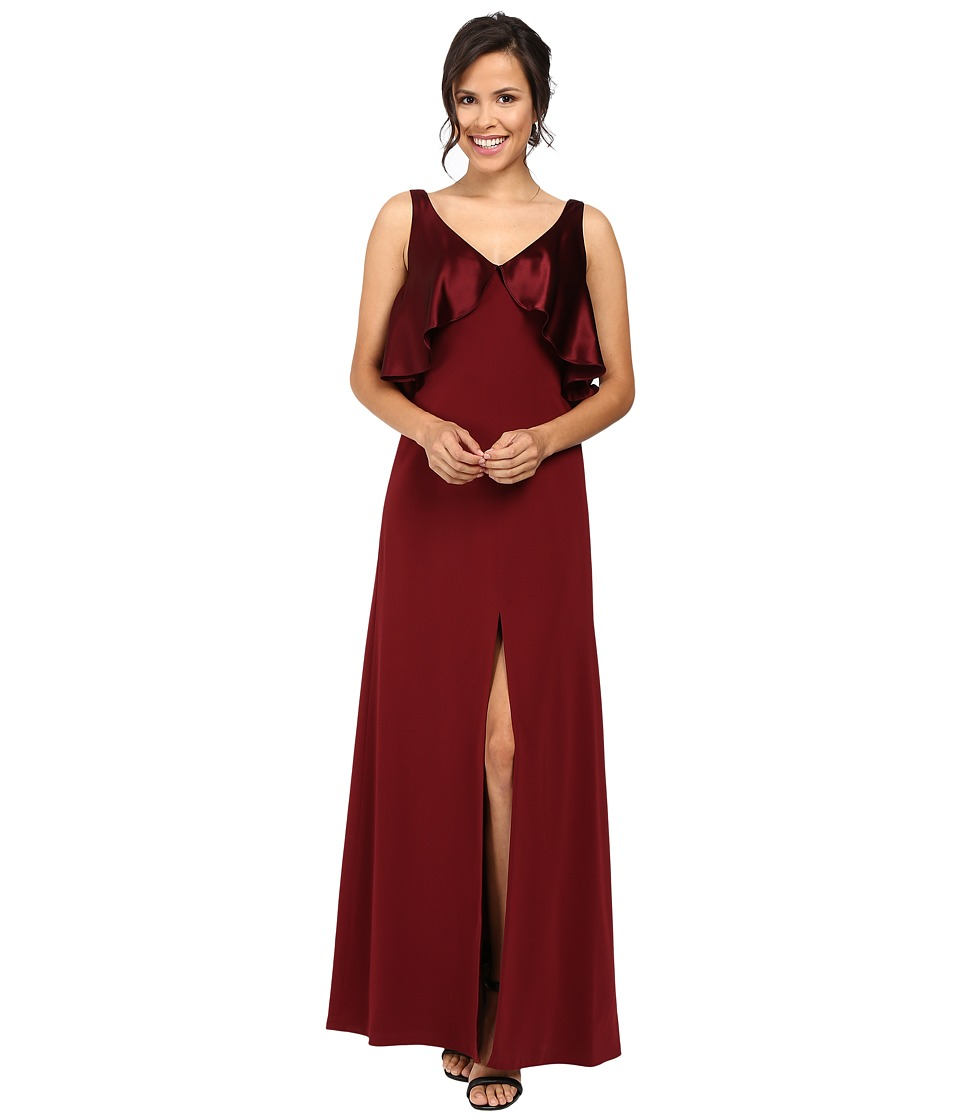 1930sStyleFashionDresses JILL JILL STUART - Satin Back Crepe Gown with Cape Detail at Neck Oxblood Womens Dress $328.00 AT vintagedancer.com