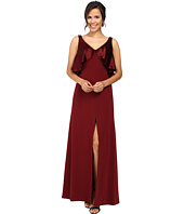 JILL JILL STUART - Satin Back Crepe Gown with Cape Detail at Neck