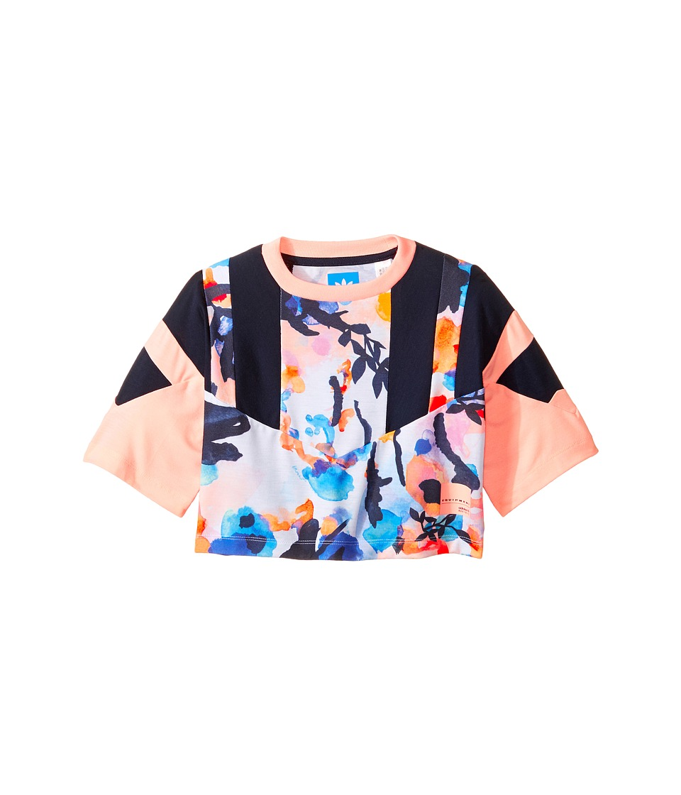 adidas Originals Kids EQT Cropped Tee (Toddler/Little Kids/Big Kids) (Multicolor/Haze Coral/Legend Ink) Girl