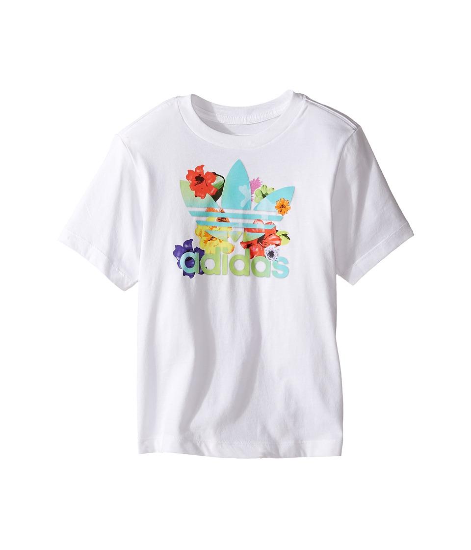 adidas Originals Kids Flower Tee (Toddler/Little Kids/Big Kids) (White/Multicolor) Girl