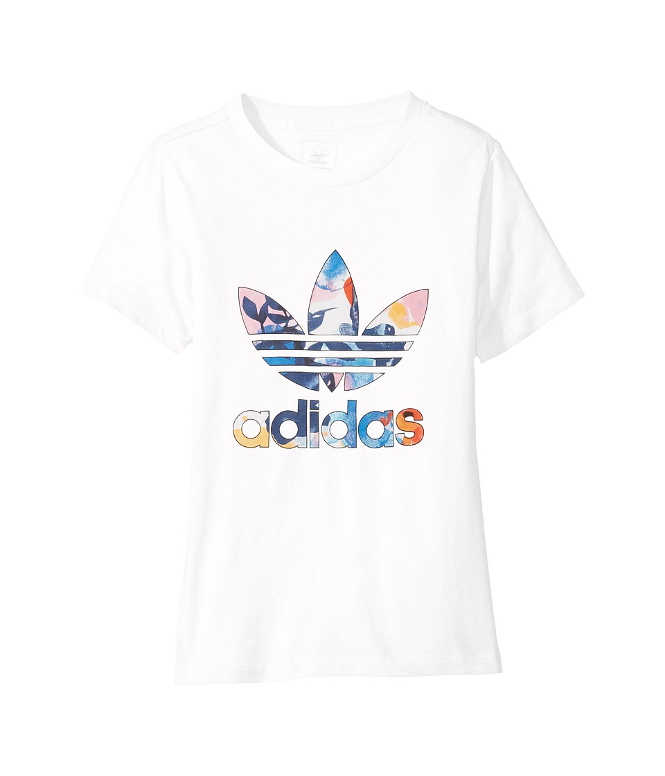 adidas Originals Kids Trefoil Classic Tee (Toddler/Little Kids/Big Kids) (White/Multicolor) Girl