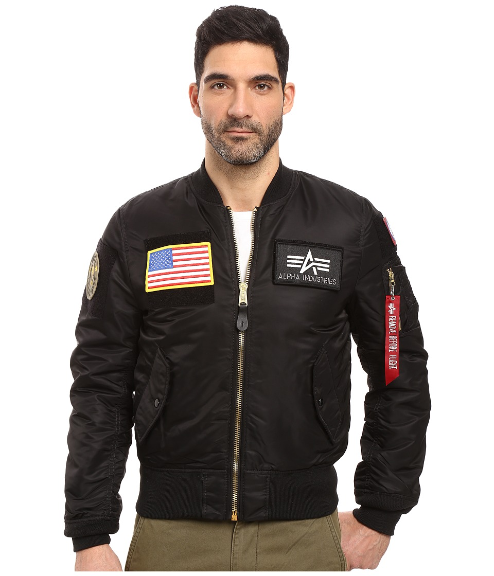 Alpha Industries - MA-1 Flex Slim Flight Jacket (Black) Mens Coat
