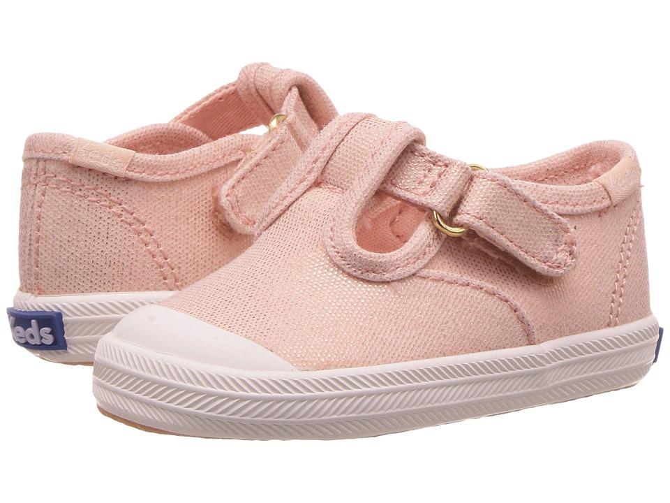 Keds Kids Champion Toe Cap T Strap Infant Metallic Rose Gold Girls Shoes