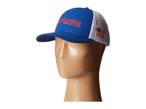 Columbia PFG Mesh Snap Back Ballcap - Mountain Blue/USA Flag