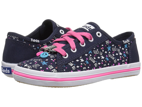 Keds Kids Kickstart Charm (Little Kid/Big Kid) - Navy/Pink Stars