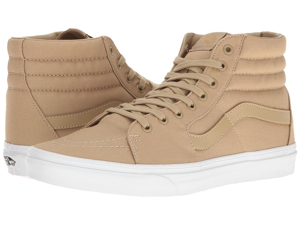 Vans - SK8-Hi ((Mono Canvas) Khaki/True White) Skate Shoes