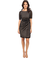 London Times - Pleated Sheer Stripe Sheath Dress
